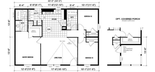 Manufactured Home: Gold Series floorplan: Model Number GS 401F