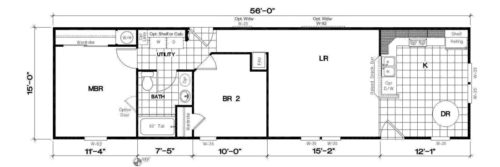 Manufactured Home: Gold Series floorplan: Model Number GS 561N