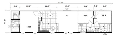Manufactured Home: Gold Series floorplan: Model Number GS 621M
