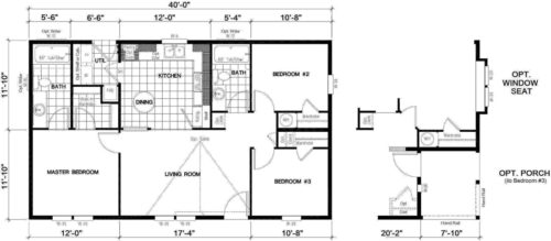 Manufactured Home: Gold Series floorplan: Model Number GS 401A