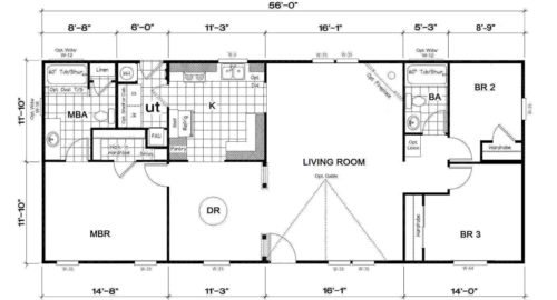 Manufactured Home: Gold Series floorplan: Model Number GS 561A