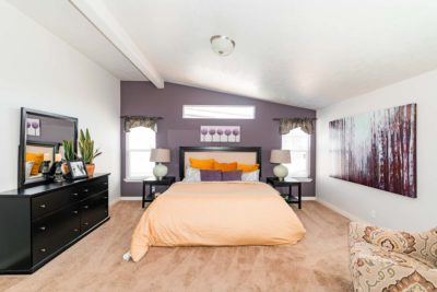 Huge master bedroom in this prefabricated home.